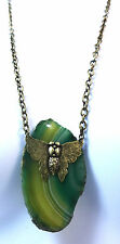 Bronze Chain Necklace Artsy Flat Green Stone Large Butterfly Everyday Wear(ST19)