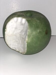 Early Italian Alabaster Stone Fruit Green Apple w/ Bite Rare Example NM+