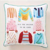 New Anthropologie Mr. Boddington's Studio Tis The Season To Be Cozy Throw Pillow