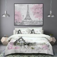 Paris Duvet Quilt Cover Bedding Set & Pillowcases Single Double King All Sizes
