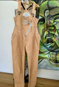 * Women's Genuine Soft Leather Catsuit Jumpsuit Natural Taupe Leather OVERALLS *
