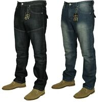 KAM Mens Straight Leg Casual Blue Indigo Jeans Denim Trousers Sizes 30-40