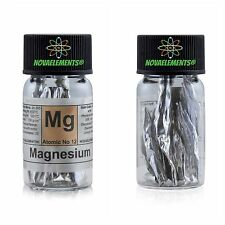 Magnesium metal flakes element 12 sample 99,9% in a fulfilled labeled glass vial