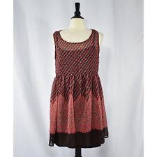 Xhilaration Women's Juniors A-Line Sleeveless Dress LARGE Salmon Pink Brown NWT