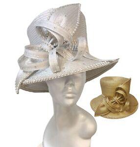 Women's Metallic Satin Ribbon Derby Easter Sunday Tea Party Church Hat