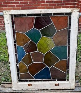 Vintage Antique Victorian Stained Lead Glass Window Panel Architectural Salvage