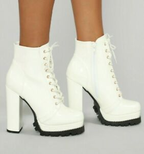 """White Chunky Patent Faux Leather Combat Block 5""""Heeled Bootie Boots 7 7.5 US"""