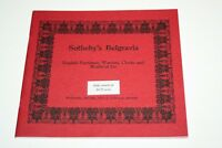 Old Sotheby's Belgravia Catalogue - English Furniture, Watches, Clocks etc 1978