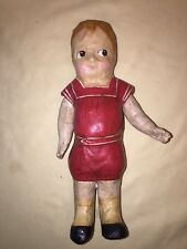 Antique Vintage Papier Mache Boy Doll Jointed Left Glancing Eyes Handpainted