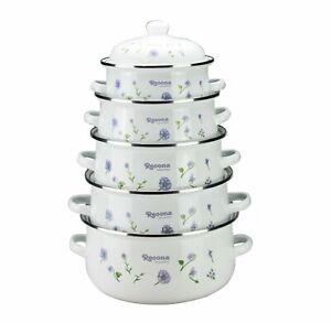 NEW 10PC Enamel Casserole Dish Set Cookware Casserole Pan With Lid Soup Stockpot