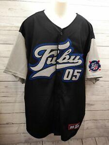 Vtg Fubu 05 Baseball Sport Collection Shirt Jersey Sz XL Blue White 1990's