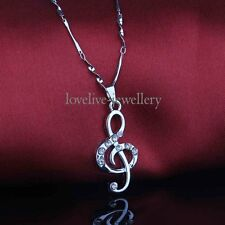 New Diamante Crystal Music Note Pendant Necklace Charm Silver Twisty Chain Gift