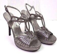 Adrianna papell boutique crystal peeptoe metallic silver platform heels size 9.5