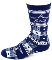Dallas Cowboys NFL Football Blue Gray Quilt Plaid Crew Socks