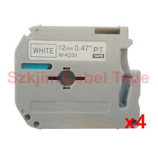 """4 x  Brother P-touch Compatible M-K231 MK231 Black on White 12mm 8m 1/2 x 26"""""""