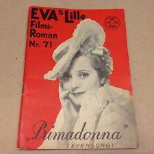 """Evensong Evelyn Laye Kortner Vtg 1935 Danish Movie Novel """"EVA Lille Film Roman"""""""