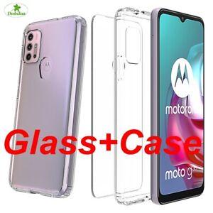For Motorola Moto E7 G 5G G8 G9 Power G30 G10 Clear Case Cover + Tempered Glass.