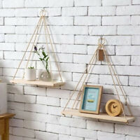 Wooden Shelves Floating Shelf Wall Mounted Plant Storage Rack Display Home Decor