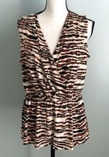 Anne Klein Large Sleeveless Animal Print Mock Wrap V Neck Top Blouse NWT