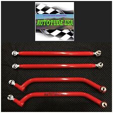 "MAX CLEARANCE HD CHROMOLY RZR XP 1000 UPPER & LOWER NEW ""G-2"" RADIUS RODS, RED"