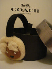 New And Super Cute Coach Boxed Bear Shearling Ear Muffs Black/Tan - F77731