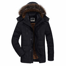 HOT Winter Men's Cotton Coat Thicken Warm Hooded Parka Fur Collar Jacket Outwear