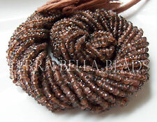 "13"" strand ANDALUSITE faceted gem stone rondelle beads 3mm - 3.5mm brown"