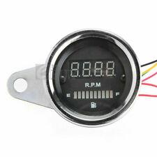 Universal Chromed Motorcycle LED Digital Tachometer RPM Meter Fuel Lever Gauge