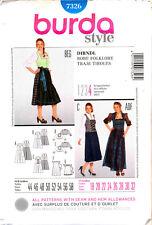 BURDA SEWING PATTERN 7326 MISSES 18-32 GERMAN DIRNDL DRESSES COSTUME, PLUS SIZES