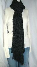 New Black Scarf Handmade oversize Crochet 78 Inches Extra Long Goth, Bohemian