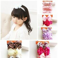 3PCS Baby Tiara Toddler Girls Turban Kids Hairband Bowknot Candy Headband