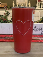 Rae Dunn - Heart - Insulated Stainless Steel Red Travel Tumbler w/ Lid