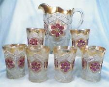 Rayed Flower Water Set Indiana Glass Antique Splendor EAPG 1905-20 7 Pcs 1 AS IS