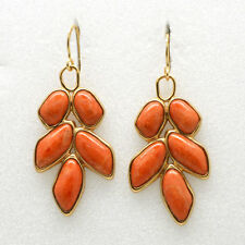 Barse Jewelry Orange Sponge Coral and Bronze Earrings
