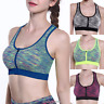 Women's High Impact Front Zip Wireless Padded Cup Tank Top Gym Running Sport Bra