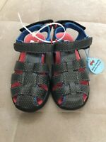 New See Kai Runners Boy Sandals Shoes Sz 12.5 Gray Red Blue Flexible Water boys