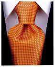 Mens Orange Tie - Woven Necktie Burnt Orange Wedding Tie for Groom