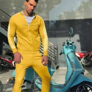 Mens Tracksuit 2 Piece Casual Pants Jacket Sweatsuit Sweatshirt Stripe Set
