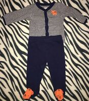 BABY BOYS INFANTS 0-3 MONTHS TWO PIECE OUTFIT SET ORANGE TIGER NAVY BLUE TOP PAN