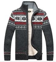 2017 Mens fur lined knitted wool jacket coat outwear thick warm sweater Cardigan