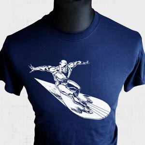 The Silver Surfer T Shirt Fantastic Four Galactus Super Hero Comic Blue