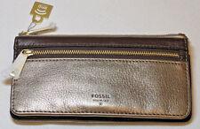 Fossil SL7269236 Preston Flap Clutch Taupe Metallic leather wallet RFID NWT*^