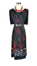 LEONA EDMISTON Dress - Black Red Fish Coral Ocean Cowl Neck Midi Stretch - XS/8