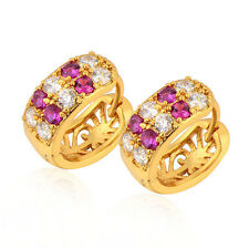 Perfect 18K Yellow Gold Filled Red Ruby Gold Hoop Earring,For Womens/Girls
