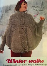 KNITTING PATTERN Ladies Cape Poncho Cover Up Bergere De France PATTERN