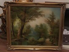 Superbe grand original peinture à l'huile d'eaux Gde signé I CAFIERI Golden Frame