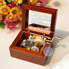 "Play ""Moon River"" Hand Crank Wooden Music Box With Sankyo Musical Movement"