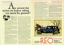 1930 REO SPORT SEDAN WOMAN DRIVER 2 PAGE COLOR  ORIGINAL  CAR AD