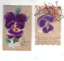 lot 2 cartes gélatine : fleurs, ajoutis, ruban...1905