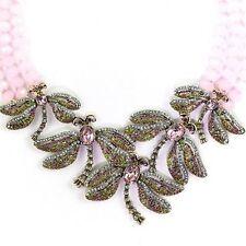 NEW Heidi Daus Dragonfly Artistry 3-Row Beaded Necklace Pink Swarovski